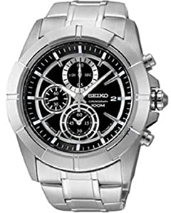 Seiko Chronograph Black Dial Stainless Steel Mens Watch SNDE65