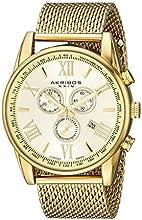 Akribos XXIV Men's AK813YG Analog Display Swiss Quartz Gold Watch