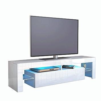 Kofkever Cesare 1104 Porta Tv Bianco/Bianco Lucido Brillante mobile moderno portatv soggiorno sala