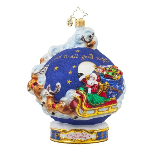 "Christopher Radko- And to All a Goodnight- Glass Ornament, 6"", in giftbox"
