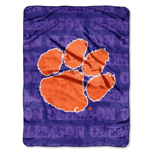 NCAA Clemson Tigers 46-Inch-by-60-Inch Micro-Raschel Blanket, Grunge Design at Amazon.com