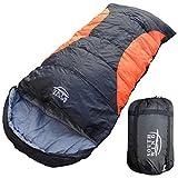 【SOUTH WIND】丸洗いのできる BIGサイズ 寝袋 シュラフ 封筒型 耐寒温度 -5℃ コンパクト収納 オールシーズン (ブラック×オレンジ)