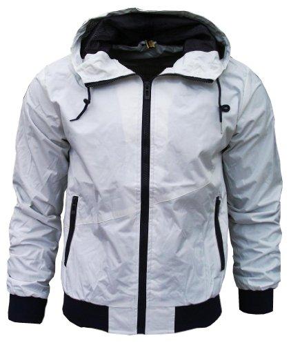 Kami Orbit Men's Lightweight Sports Rain Wind Jacket No Logo white / purple Medium