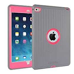 iPad Air 2 Cases ,By eSellerBox® , [Heavy Duty] [Armor ] Full-body Rugged Hybrid Robust 3-Layer Protective Case With Stands Drops Bumps and Shock Built-in Screen Protector Case Cover Grey&Pink