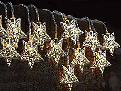 12 Moroccan Star Solar String Lanterns LED Fairy Lights Garden Outdoor Party Wedding Celebration Beautiful Night Light Decorative Garden Patio Lamp Sun Powered Eco