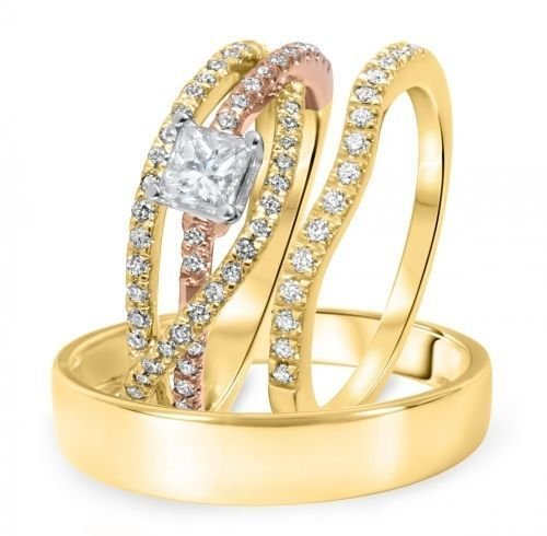 Vorra Fashion 3/4 CT Princess & Rd Cut Cubic Zirconia 14k Gold Plated .925 Trio Wedding Ring Sets