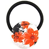Neon Orange Mix Shade Floral Splash Printed Silk Screen Woven Fabric Covered Button Hair Elastic