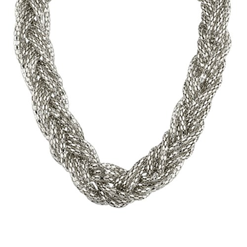 Lux Accessories Mesh Braided Statement Necklace. (Pearl Necklace Display Case compare prices)