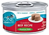 Purina ONE Cat Food Classic Beef Recipe Premium Pate, 3-Ounce (Pack of 24)