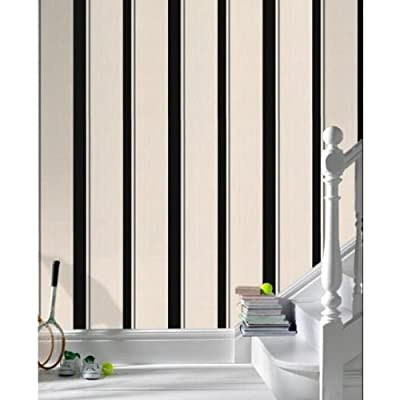 Barley Striped Wallpaper In Black Full Roll by wallpaper heaven