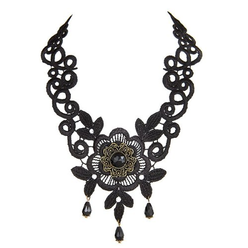 Lovely Victorian Burlesque Gothic Style Black Lace Flower Choker Vintage Necklace