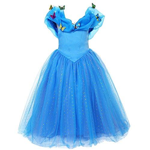 ELSA & ANNA® Ragazze Principessa abiti partito Vestito Costume IT-FBA-CNDR2 (IT-CNDR2, 7-8 Anni)