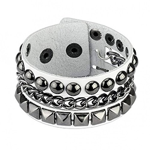 Bracciale in pelle bianca Pyramid & Ball Studs with Chain