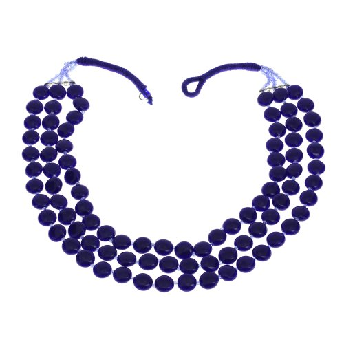 Blue Beaded Necklace Indian Handmade Costume Jewelry Fashion