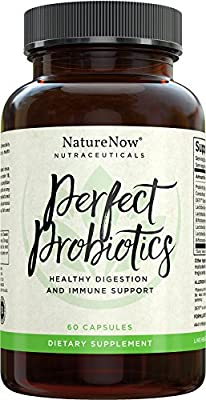 Perfect Probiotics Supplement By NatureNow For Colon Care, Perfect Digestive Health Plus Daily Immune System Support - Healthy Natural Raw Enzymes Powder Perfect For Men & Women