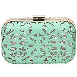 BMC Matte Teal Green Cut Out Faux Leather Covered See Through Clear Plastic Hard Case Fashion Handbag Clutch