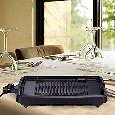 Yingjia Indoor Countertop Non-stick 1200W Electric Grill with Removable Grill Surface and Adjustable Thermostat, Black from Yingjia