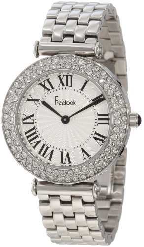 Freelook Women's HA1944-4 Ss Silver Band & Case White Dial Swarovski Bezel Watch