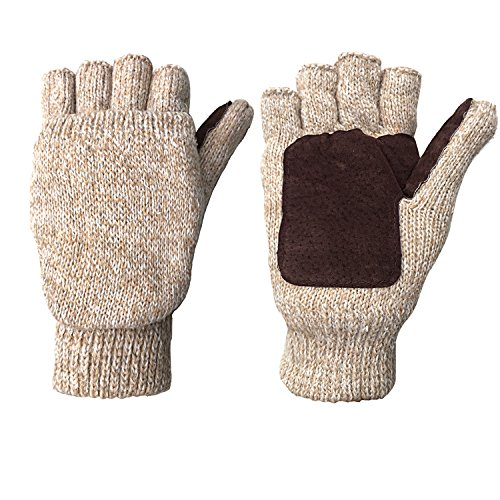 Winter Warm Wool Knitted Convertible Fingerless Gloves With Mitten Cover (Kids Convertible Gloves compare prices)