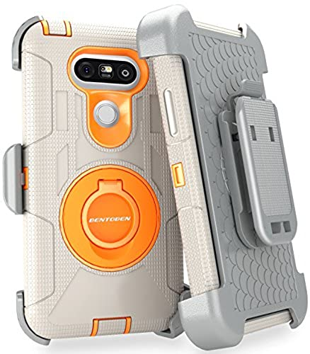 02. LG G5 Case, BENTOBEN Shockproof Heavy Duty Protection Hybrid Rugged Rubber Built-in Rotating Kickstand Belt Swivel Clip Holster for LG G5,Grey/Orange