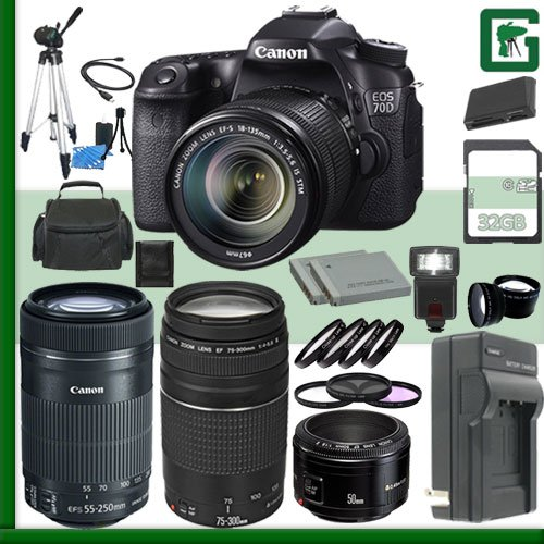Canon Eos 70D Digital Slr Camera Kit With 18-135Mm Is Stm Lens And Canon Ef 75-300Mm Iii Lens And Canon 55-250Mm Lens And Canon 50Mm F/1.8 Lens + 32Gb Green'S Camera Package
