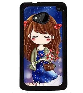 Printvisa Cute Girl In A Blue Polka Dot Dress Back Case Cover for HTC One M7::HTC M7