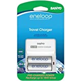 Sanyo Universal 2-Position Quick Charger Set With 2 AA Eneloop NiMH Batteries