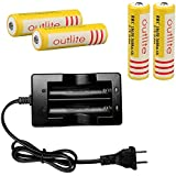 Outlite 4pcs 3.7V 18650 3600mAh Protected Lithium Li-ion Rechargeable Battery for LED Light& Headlight& Headlamp& Handheld Flashlight& Torch with 1pc Quick Smart Charger