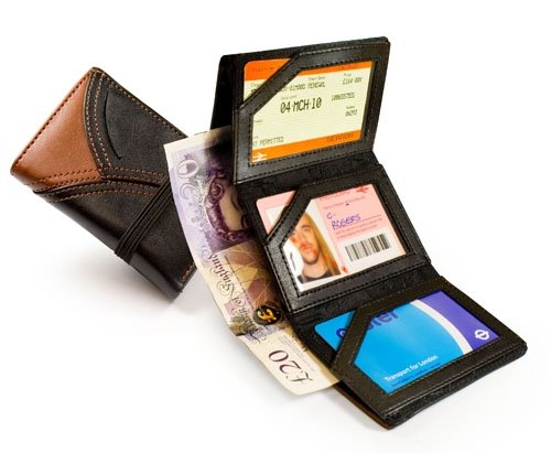 Classic leather 'tri-fold' Commuter Wallet train ticket / bus pass wallet holder case - brown