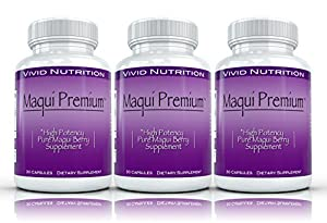 Maqui Premium (3 Bottles) - High Potency, Super Absorbable Maqui Berry Supplement. The All-Natural Diet, Cleanse & Detox, Antioxidant Superfood product. BETTER than Acai! (500mg - 30 Capsules each)