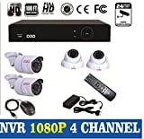 [Full HD 1920x1080P] D3D® 4CH 960P sPoE NVR HD Security Camera System with 2 Indoor/ Outdoor Waterproof Night Vision Security Cameras & And MORE (sPoE Technology Continuous Recording or Smart Recording, e-Cloud, HDMI Output Two Mega-pixels, Smartphone Scan QR Code Quick Remote Access, CMS ,Multiple Mobile-Viewing, Motion Detection, Push Notification)