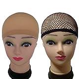 eBoot 3 Pack Wig Caps, Netural Nude Beige and Black Mesh