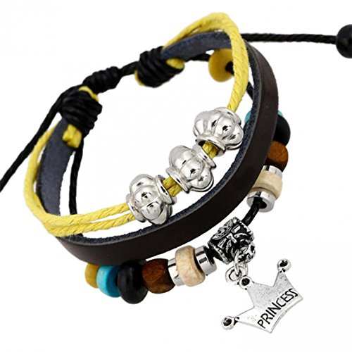 Bling moda in pelle nero corda catena bracciale in pelle Braccialetti Corona lb1285