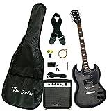 Glen Burton GE56BCO-BK SG-Style Electric Guitar, Black