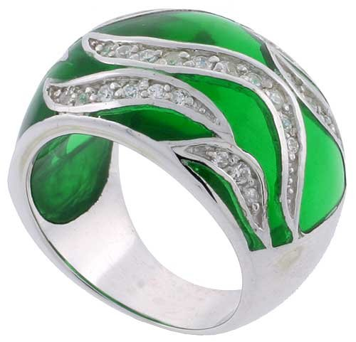 Sterling Silver Emerald Green Resin Wide Dome Ring with Cubic Zirconia Stones