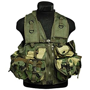 Tactical Patrol Military Assault Vest 9 Pockets Airsoft Webbing Woodland Camo by Mil-Tec