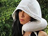 Hooded Memory Foam Neck Travel Pillow - Head & Neck Support / Alignment - Large Hood to Cover Eyes - Machine Washable - Ideal for Long Trips in Car on Plane, Bus, Train - Perfect Gift - 100% Guarantee (Light Gray)