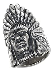 Sterling Silver Mens Indian Head Ring (size 11)