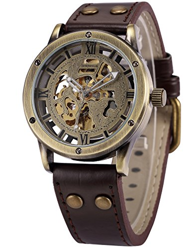 Vintage Bronze Roman Automatic Mechanical Mens Skeleton Brown Leather Strap Wrist Watch