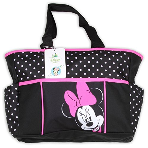 Minnie Small Black and Pink Polka Dot Tote Diaper Bag - 1