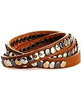 CASPAR Damen Leder Vintage Nietenarmband / Armband mit verschiedenen Nieten Teil LEDER - viele Farben - AZ304