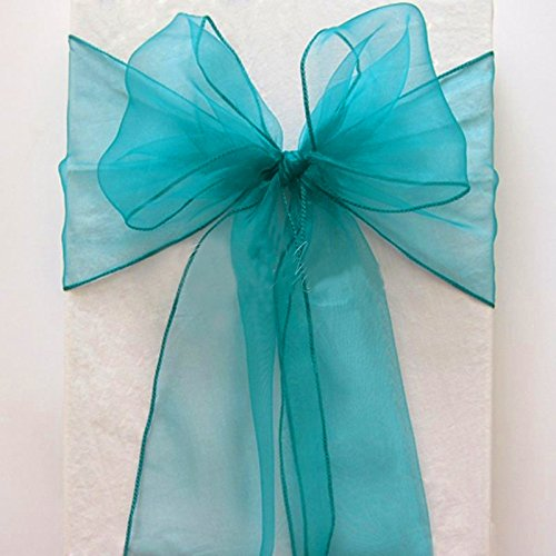 MDS 50 Organza Chair Cover Bow Sash Wedding Banquet Decor -light teal