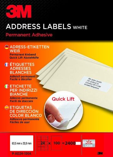 3M PA24100A Etiquettes 63.5 x 33.9 mm Blanc