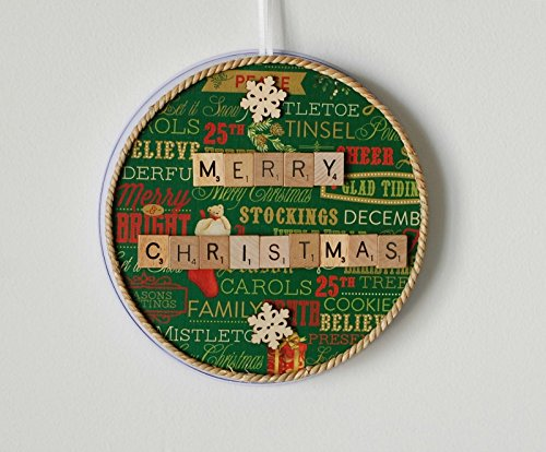 "Circular Magnet Board + ""Merry Christmas"" Scrabble Tile Magnets"