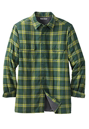 Kingsize Men's Big & Tall Fleece-Lined Flannel Shirt Jacket, Hunter Plaid (King Size Mens Clothing compare prices)