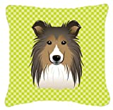 Checkerboard Lime Green Sheltie Canvas Fabric Decorative Pillow BB1304PW1414