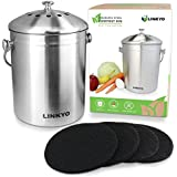 LINKYO Compost Bin - 1 Gallon Kitchen Composter (Stainless Steel) includes 4 Odor-Neutralizing Filters