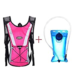 Koolee Hydration Bladder 2L Water Rucksack Backpack Bladder Bag Hydration Pack System for Hiking Cycling Climbing Hot Pink