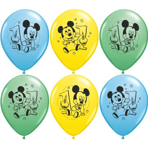 Mayflower Distributing Disney Mickey 1St Birthday Latex Balloons