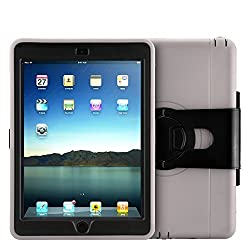 MXtechnic Innovative Scratch-Resistant Water resist Dirt and Shock Proof iPad 6 Stand Case - 360 Degree Rotation Protective Case Cover Stand for iPad 6 (Silver)